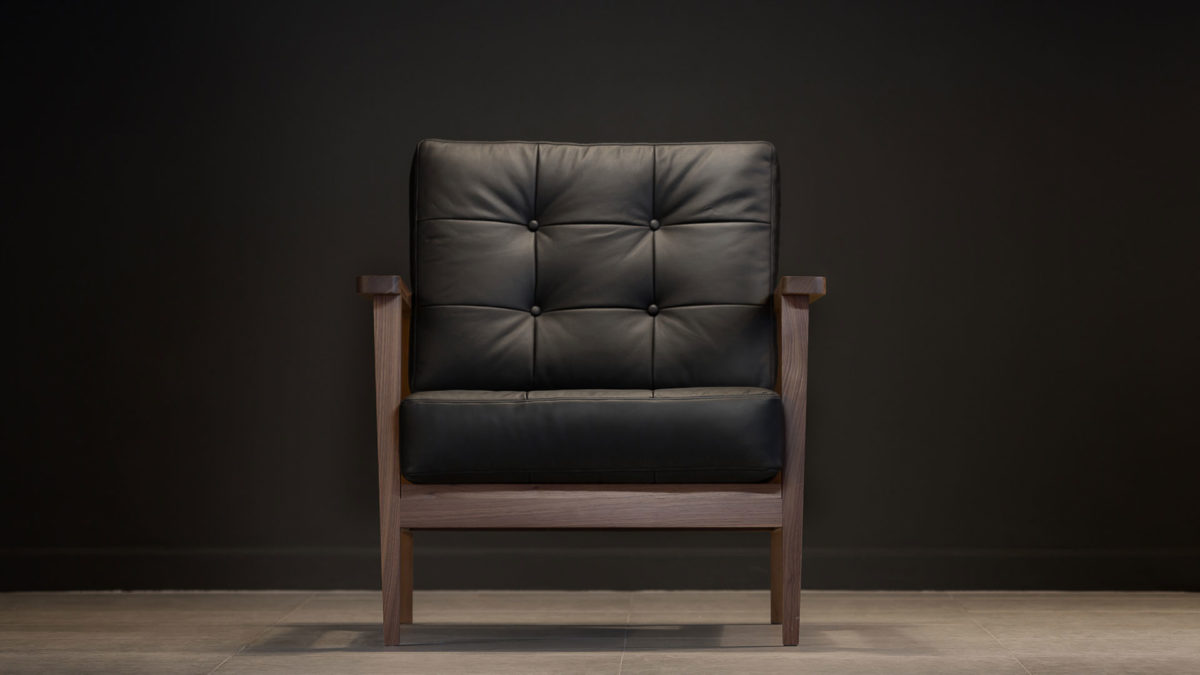 The Mid-Century Show Wood Armchair, Black Leather