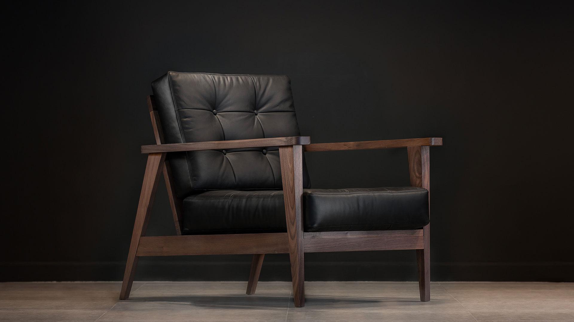 show wood armchair aniline leather black sideways