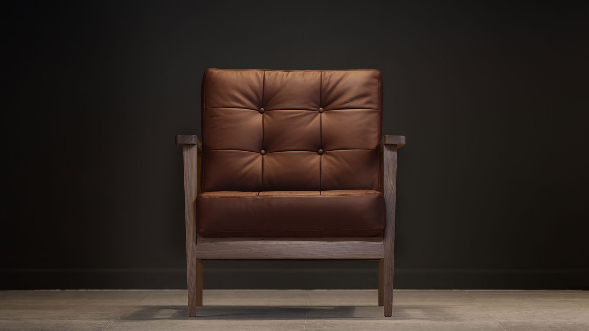 The Mid Century Show Wood Armchair Brown Leather