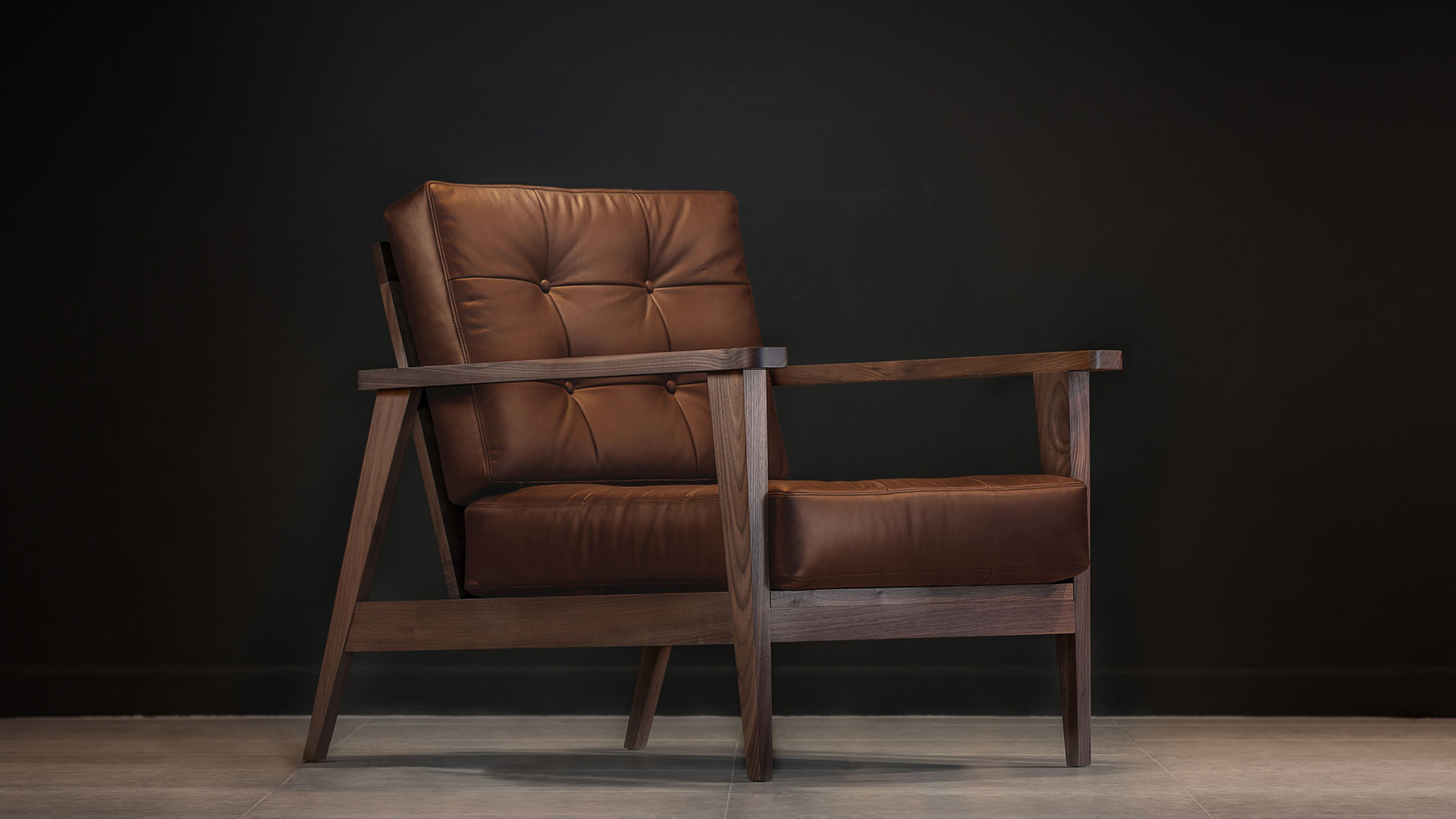 show wood armchair aniline leather camel tan sideways