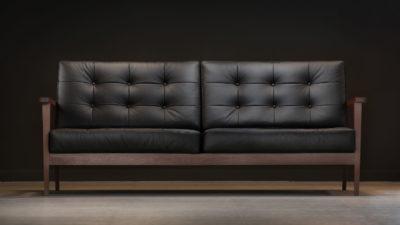 The Mid-Century Show Wood Sofa, Black Leather