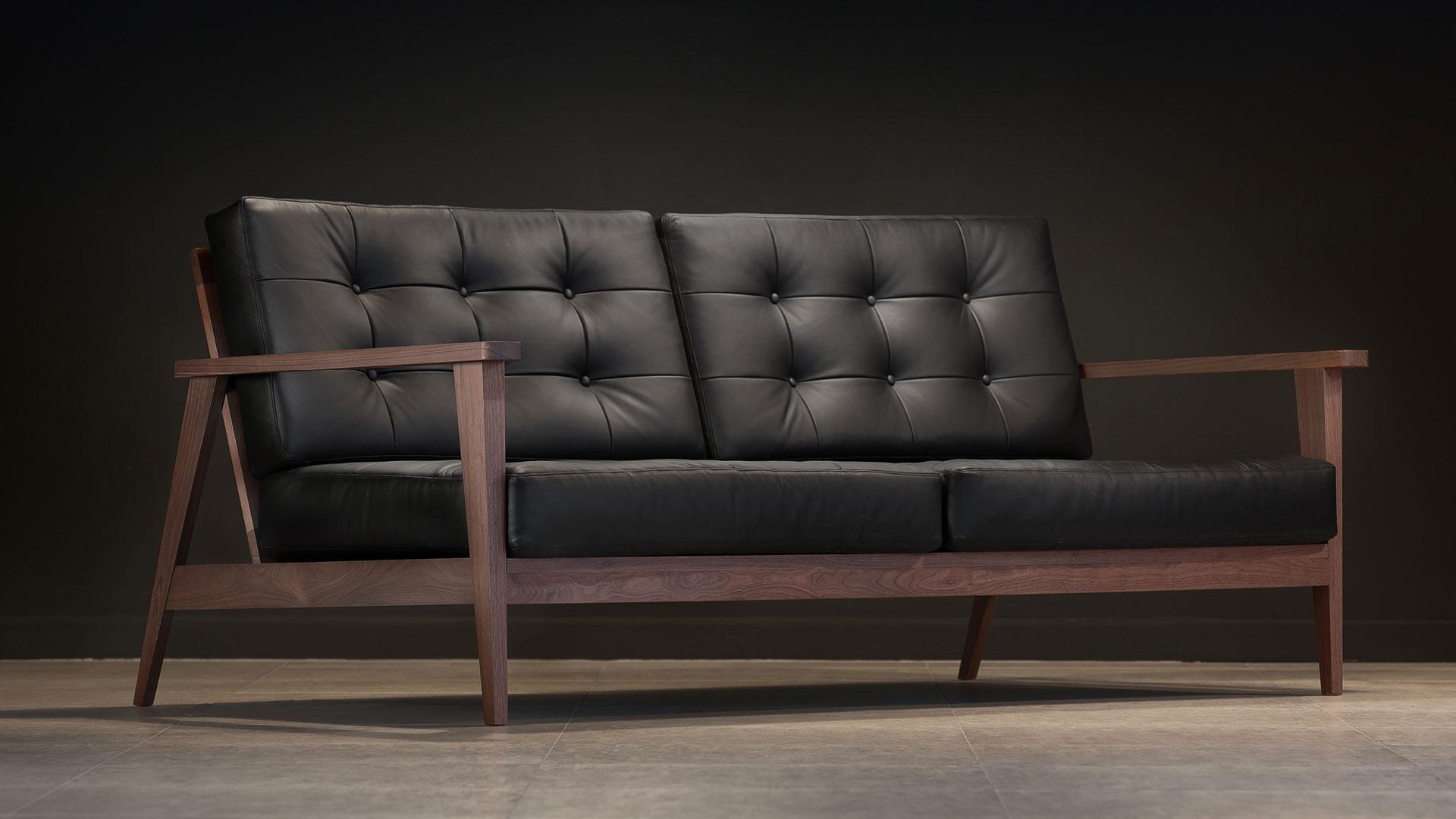 The Mid-Century Show Wood Sofa, Black Leather | Century Modern