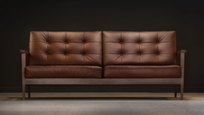 The Mid-Century Show Wood Sofa, Brown Leather