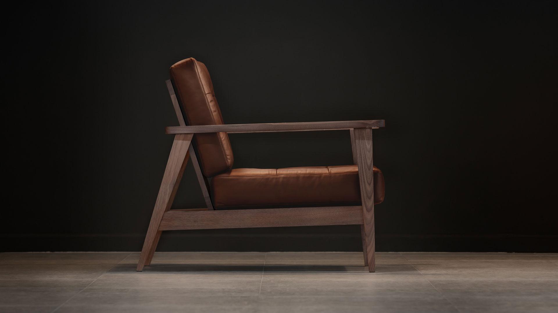 show wood sofa aniline leather camel tan side