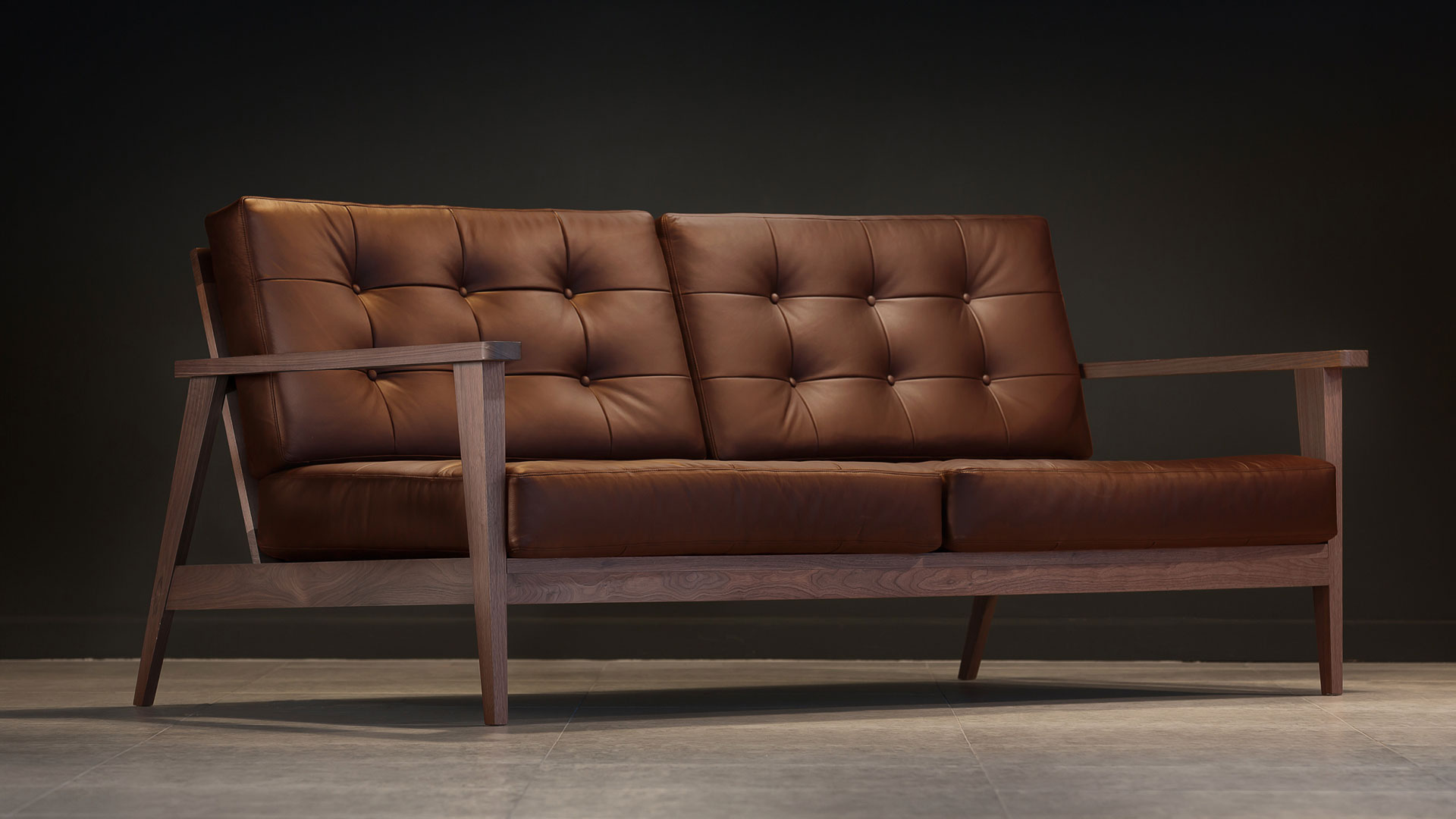 The Mid-Century Show Wood Sofa, Brown Leather | Century Modern