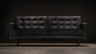 The Square Arm Sofa, Black Leather