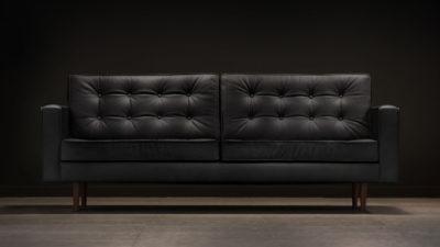 The Square Arm Sofa, Black Leather
