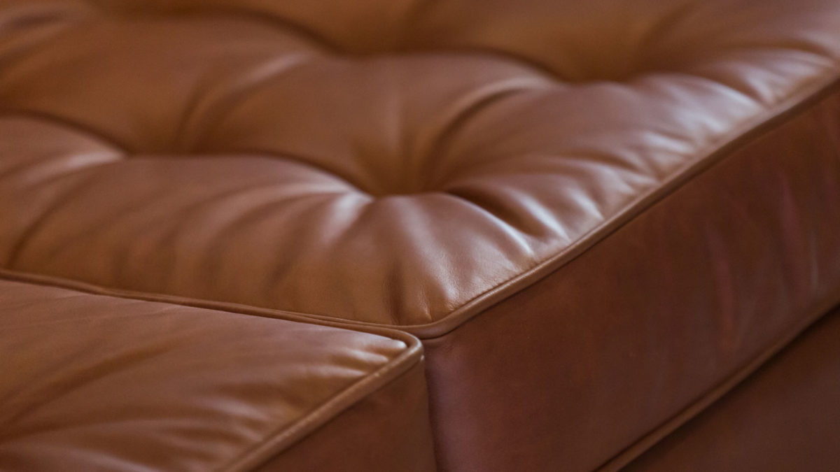 The Square Arm Sofa, Brown Leather