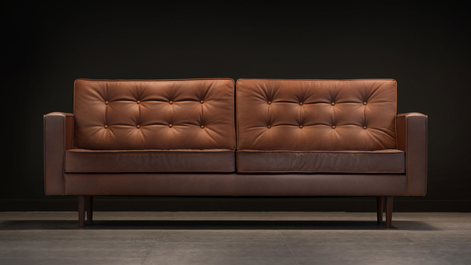 The Square Arm Sofa Brown Leather