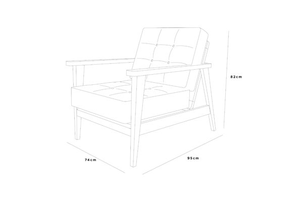 bjorn lounger 74x95x82 leather buttons sketch