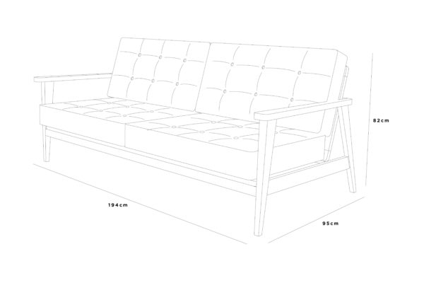 bjorn sofa 194x95x82 leather buttons sketch
