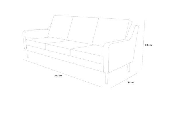 jetson sofa 212x92x86 fabric