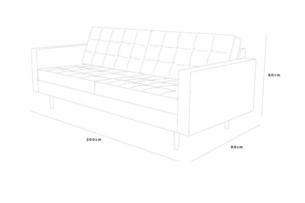 mcqueen sofa 200x90x80 leather buttons sketch